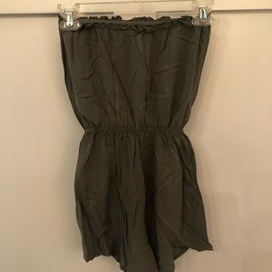 Army Green Strapless Romper